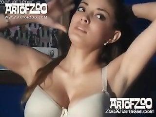 Nice-shaped girl likes feeling dog's cock inside of pussy