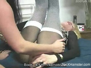 Chubby girls go kinky playing with toys and doggy's cock