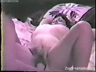 Amateur vintage porn clip of females having sex with dog