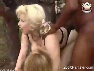 Sexy MILFs talked chap to let his horse fuck them