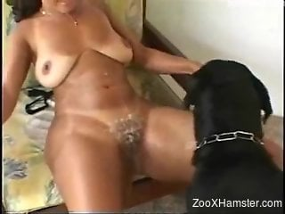 Cute animal lover has anal sex with rottweiler