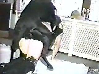 Big black dog shoves grand cock into owner's cunt