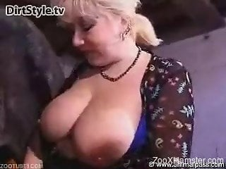 Curvaceous old woman wants big horse's dick in twat