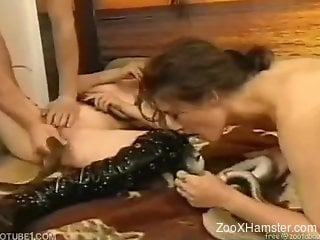 Guy along with two MILFs uses fish and snakes in their threesome
