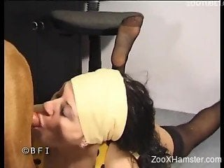 Skinny brunette in black stockings has nice sex with own dog