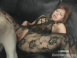 Huge horse dick to suit babe's amazing pussy