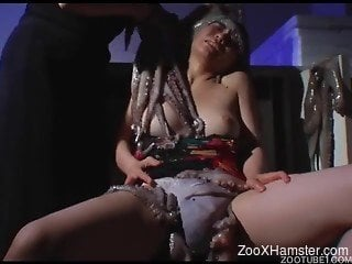 Horny lesbians in slutty zoophilia home scenes