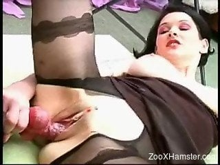 Short-haired pantyhose-clad zoophile fucks a black dog on a bed