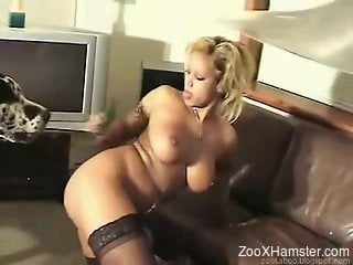 Big-breasted blonde gets fucked hard on a couch