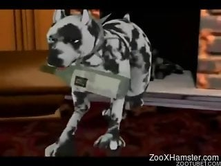 3D bestiality video featuring a loli and her hung dog
