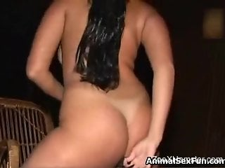 Hairy pussy babe getting drilled deep by a horse