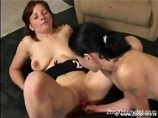Two European sluts enjoying crazy bestiality