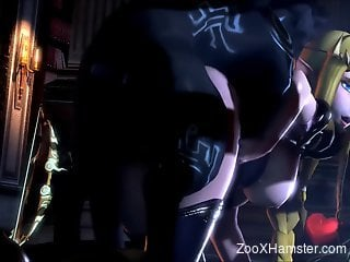 Slutty 3D blonde getting fucked by a demonic beast
