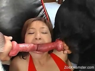 Compilation of hardcore face-fucking with JAV hotties