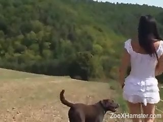 Slim babe lands a massive dog dick into her ass