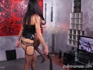 Bitch enjoys scar zoophilia porn alongside lesbian dominator