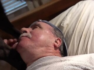 Old guy cannot wait to taste that dog seed big time